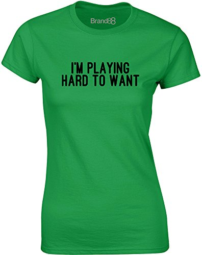 Brand88 - Playing Hard to Want, Gedruckt Frauen T-Shirt Grün/Schwarz