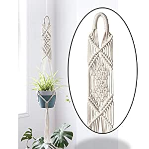 ecofynd® Macrame Cotton Plant Hanger [Without Pot]   Rope Flower Pot Holder for Indoor Outdoor Balcony Garden Wall   Home Décor Basket Hanger (1 Pack - M4)