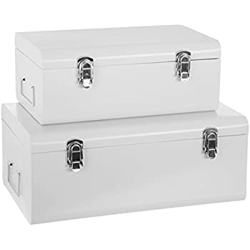 Set Of 2 Metal Storage Chests   Trunk Design   Colour WHITE