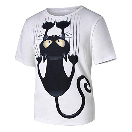 Shirt Herren,Binggong Männer Frauen Paar Modelle Katze Muster Print Fashionable Kurzarm T-Shirt Tops Bluse Populäre Basic T-shirt für Männer Damen (S, Weiß)