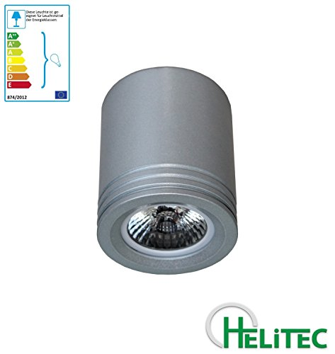 Leuchtstoff-licht-halter (Aufbaustrahler Aufbauleuchte Unterbaustrahler Unterbauleuchte / Helitec1117-19 mit GU10 Fassung / grau weiß schwarz Aufbauspot Spot Deckenleuchte Deckenspot Möbelleuchte Schrankleuchte (Silber-grau))