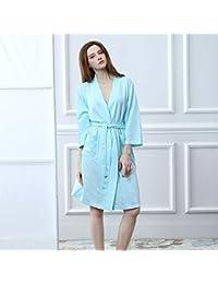 Gwanna Calentadores De Pierna para Mujeres Pijamas de Hotel de salón de Belleza Albornoces (Color: Azul, Tamaño.