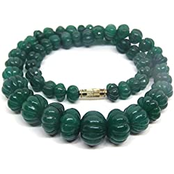 HImalaya Rudraksha Kendra 100 % Original Jade Green Coloured Round Shaped Jade Gemstone Beads 7 MM Chain Mala Statement Necklace for Women / Girls