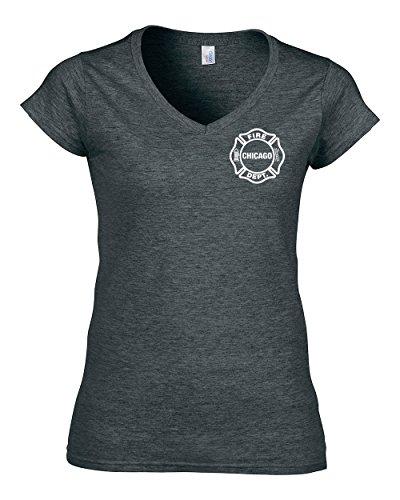 -Shirt für Frauen (V-Ausschnitt) (M, GreyHeather) ()