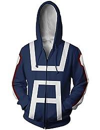 94d57133877c Lilalit Boku no Hiro Academia My Hero Academia Sweat à Capuche zippé à  Capuche pour Homme