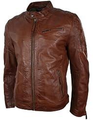 Hommes Tailored Fit Style Rétro zippée Veste motard en cuir véritable Tan Brown urbaine