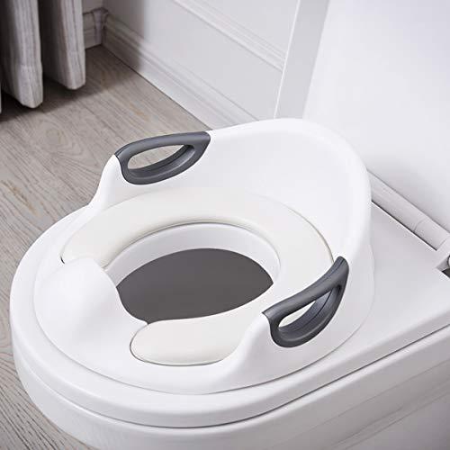 Aerobath Riduttore WC per Bambini Ergonomico Riduttore Water con Braccioli Imbottito Schienale Paraspruzzi Base antiscivolo bianco ADOVEL