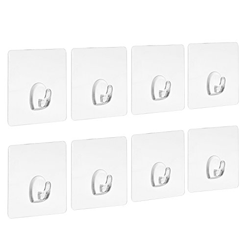 Blulu Ganchos Adhesivos Resistentes Transparentes Ganchos sin Clavo para Cocina Baño Pared Puerta, Paquete de 8