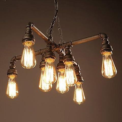 Vintage retrò Tubazione acqua luce lampadario classico di antiquariato bar Cafe 8 capi della lampada da soffitto luce di fissaggio