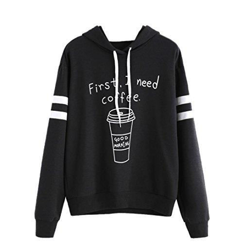 OVERMAL Damen Langer Hülsen Buchstabe Druck beiläufiger Sweatshirt Mit Kapuze Pullover Tops (XL, Schwarz # 7)