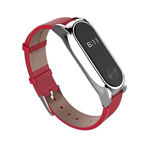 Xiaomi Mi Band 2 Correa de Recambio, Estuyoya Pulsera de actividad [Piel Sintética] Encaje Magnético [Cierre Hebilla] Reemplazo para Mi Band 2 - Color Rojo