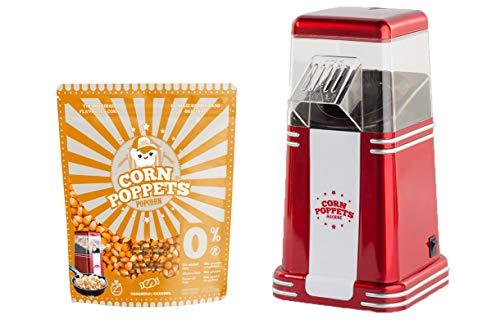 Popcorn-Automat Corny Poppets 1200 W + 3 vasos de cartón + maíz para palomitas de 16 litros