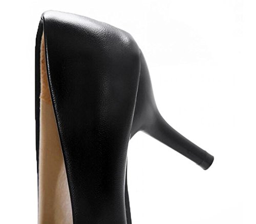 PBXP Pumps Einfache Scarpin Kätzchen Mid Heel Mandel geformte Zehe Frauen Besatzung Casual Büros Schuhe Europa Größe Innerhalb Biger Größe 31-46 Black