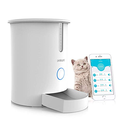 Reayou - Dispensador de alimentos automático para gatos inteligente, alimentador inteligente para perros, gatos y mascotas, dispensador de alimentos con aplicación controlada por iPhone Android u otros dispositivos inteligentes hasta 6 comidas al día