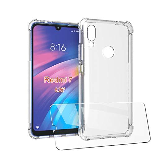 """LJSM Cover + Vetro Temperato per Xiaomi Redmi 7 (6.26"""") - Custodia Transparente Shock Absorbing Anti-graffio Soft TPU Case Ultra Sottile con 4 Antiurto Angoli Rinforzati"""