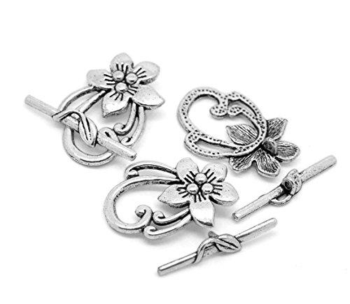 3 Stück Knebel Verschluss Knebelverschluss Blumen antiksilber 2x3cm (Knebel-verschlüsse)
