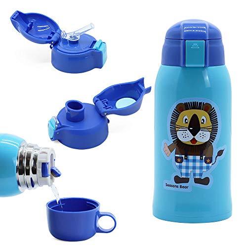 IGZOM Vakuum Thermosflasche,Doppelwandig Edelstahl Isolierflasche für Kinder, 600ml Blauer Löwe