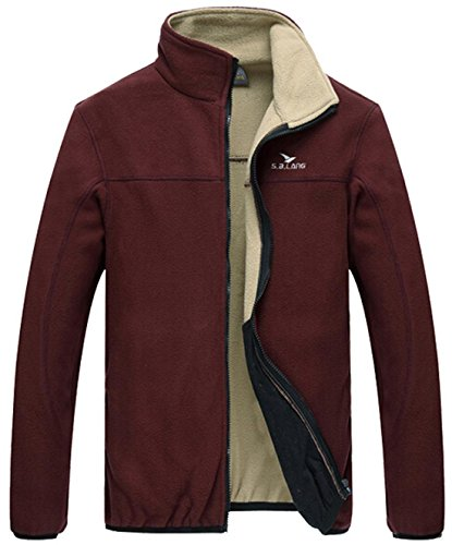 Jeansian Hommes Manteau Classic Style Zipper Manches Longues Fashion Warm Jacket 9408 WineRed