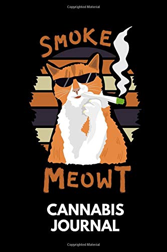 Cannabis Journal: Cannabis Review & Rating Journal / Log Book. Weed Smoking Cat - Smoke Meowt. Great Cannabis Accessories & Novelty Gift Idea for medical & personal cannabis tasting. (Smoking Socks)