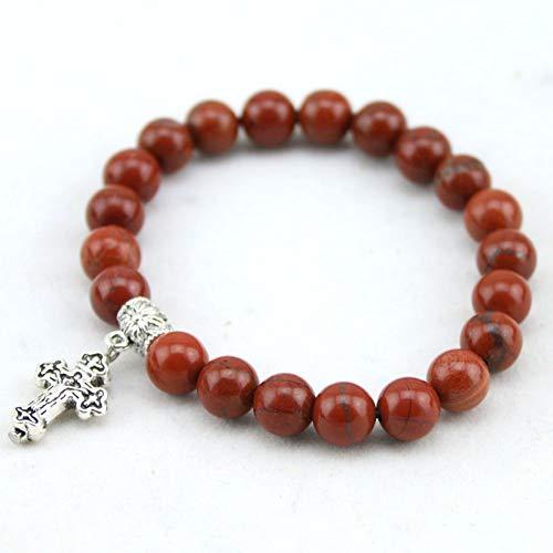 YCWDCS Armband Wählen Sie Größe geben Sie Schiff 8Mm Natura rotes Steinkreuz-Armband, Frauen-elastisches Armband-Kreuz-Charme-Armband für Männer frei (Armbänder Freund Schiff)