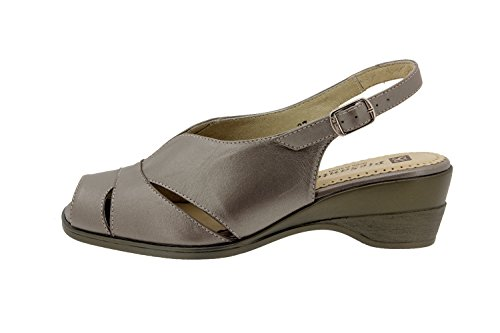 Scarpe donna comfort pelle Piesanto 2554 sandali comfort larghezza speciale Titanio