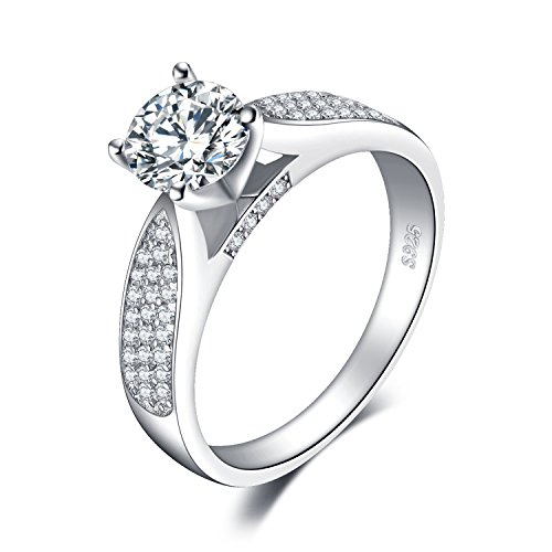 JewelryPalace Anillo compromiso solitario CZ Pave