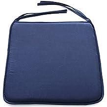 Cojines para silla, 40 x 40 cm, cuadrados, sólidos, con cordón, para la terraza, el coche, el sofá, la oficina, decoración de tatami., azul marino, Tamaño libre