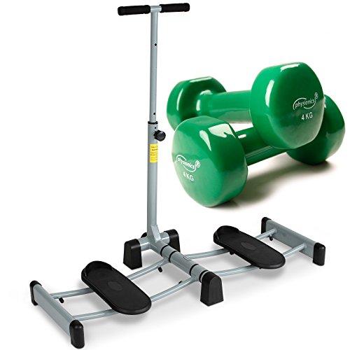 Physionics Attrezzo gambe attrezzo fitness per allenamento delle gambe e set manubri in vinile (2 x 4 kg)