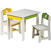 Preisvergleich für alles-meine.de GmbH 3 TLG. Set: Sitzgruppe für Kinder - aus Sehr stabilen Holz - Weiß / Grün / Gel..