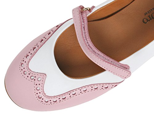 Zecchino d'Oro F11-4144 Mädchen, Edelste Leder Ballerinas mit Budapester Muster Weiß-Rosa (154)