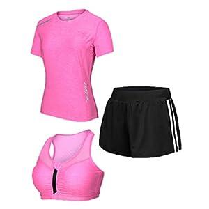 Keephen Women Sportsuit Set, Laufbekleidung Strumpfhose Gym Professional Schnell trocknender dreiteiliger Anzug