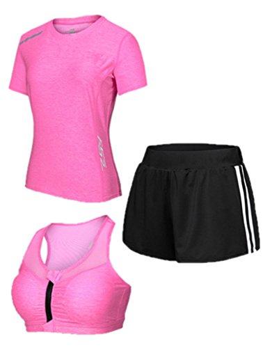 Women Sportsuit Set, Laufbekleidung Strumpfhose Gym Professional Schnell trocknender dreiteiliger Anzug