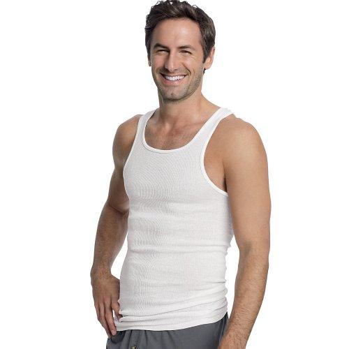 Hanes Mens 100% Cotton White A-Shirts Tagless Undershirts Tanks Tank Tops White