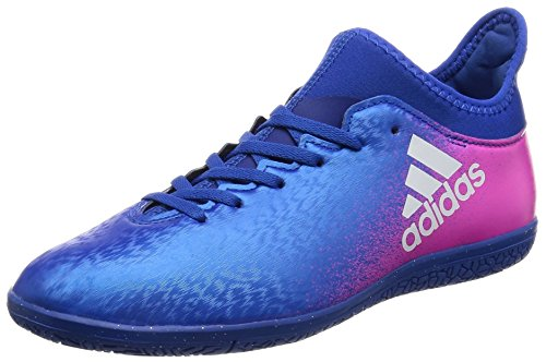 adidas X 16.3 In J, Chaussures de Football Mixte Enfant Bleu (Blue/Ftwr White/Shock Pink)