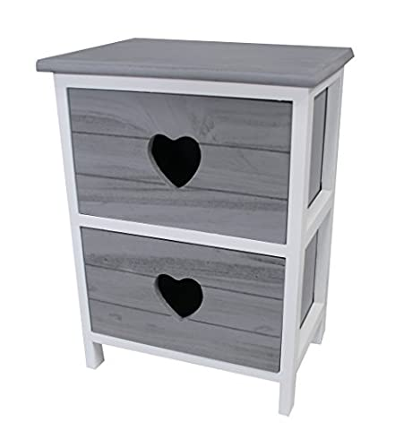 Shabby Chic Modern Wooden White Bedside Table Drawer Cabinet with Love Heart Cut out Storage Units Cupboard Bedroom Bathroom Kitchen Furniture (2 Grey
