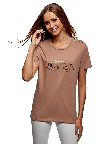 oodji Ultra Damen Gerade Geschnittenes T-Shirt mit Zierknöpfen, Beige, DE 34 / EU 36 / XS