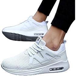 JiaMeng Zapatos para Correr En Montaña Asfalto Deportes Zapatillas Zapatos de Malla al Aire Libre de Encaje Informal hasta Soles cómodos Zapatillas Deportivas Hombre (Blanco,EU42=CN43)