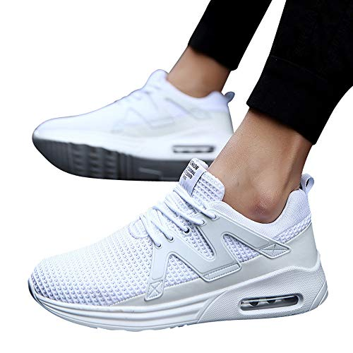 JiaMeng Zapatos para Correr En Montaña Asfalto Deportes Zapatillas Zapatos de Malla al Aire Libre de Encaje Informal hasta Soles cómodos Zapatillas Deportivas Hombre (Blanco,EU43=CN44)