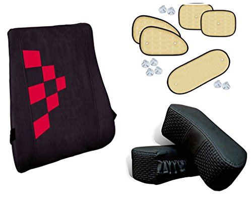 Autopearl Auto Pearl Premium Quality Combo Of Premium Quality Orthopaedic Velvet Memory Foam Backrest For Car/Home/Office. Black 6 Red Squares. & Chipkoo Sun Shade Curtain Beige Set of 5 Pcs. & Car Vastra Neck Rest Cushion Set Black Color Set of 2 pcs.