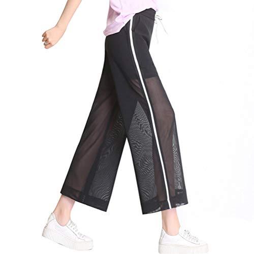 Frauen Casual Hosen Breites Bein Neun Hosen Hohe Taille Kordelzug Verstellbare Elastische Taille Mesh Ultraleichte Atmungsaktive Kühle Hosen Alfred Dunner Casual Pants