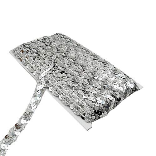 Yalulu 10 Meter Glänzendes Geflochten Zierband Paillettenband Glitzer Borte aus Dekoband Zierband Geschenkband Bortenband Kordelband Nähen DIY Handwerk Bastelprojekte (Silber) -