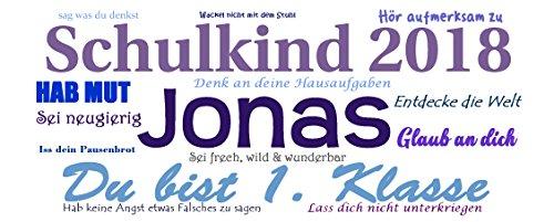 Namens-Tasse Schulkind 2018 zur Einschulung Jungen inkl. Geschenkverpackung - 3