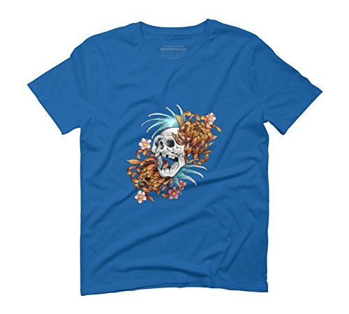 Skull with flowers and waves Men's Graphic T-Shirt - Design By Humans Royal Blue