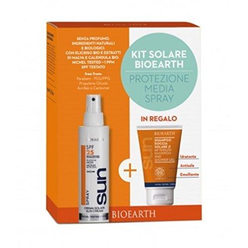 BIOEARTH - Sonnencreme Travel Kit SPF25 - Sonnenspray Creme + Sonnenshampoo/Bodywash - ICEA & Nickel getestet Zertifiziert - Duftfrei - Natürliche und organische Inhaltsstoffe