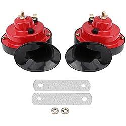 Bocina de doble tono, Universal Impermeable 12V Bocina de aire de caracol fuerte de doble tono para coche Camión Barco Barco