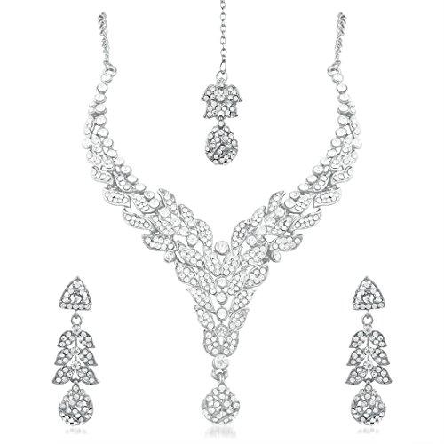 Apara-Rhodium-Austrian-Diamond-Necklace-Set-with-Maang-Tikka-For-Women