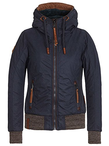 Naketano Damen Jacke Muschi Will Nich Jacke, Dark Blue, L