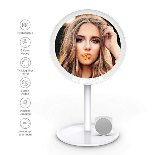 YOUKOYI Espejo de Vanidad con 66 Luces LED para Maquillaje, Espejo de Viaje Recargable de 7 Pulgadas con Aumento 7X Espejo Cosmético de 180 Grados con Luz Natural Encimera Regulable