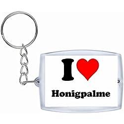 """Exklusive Geschenkidee: Schlüsselanhänger """"I Love Honigpalme"""" in Weiss, eine tolle Geschenkidee die von Herzen kommt - Rucksackanhänger- Weihnachts Geschenktipp"""