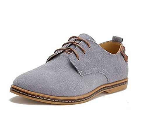 Sibba chaussures à lacets homme en Suede Oxfords Gris